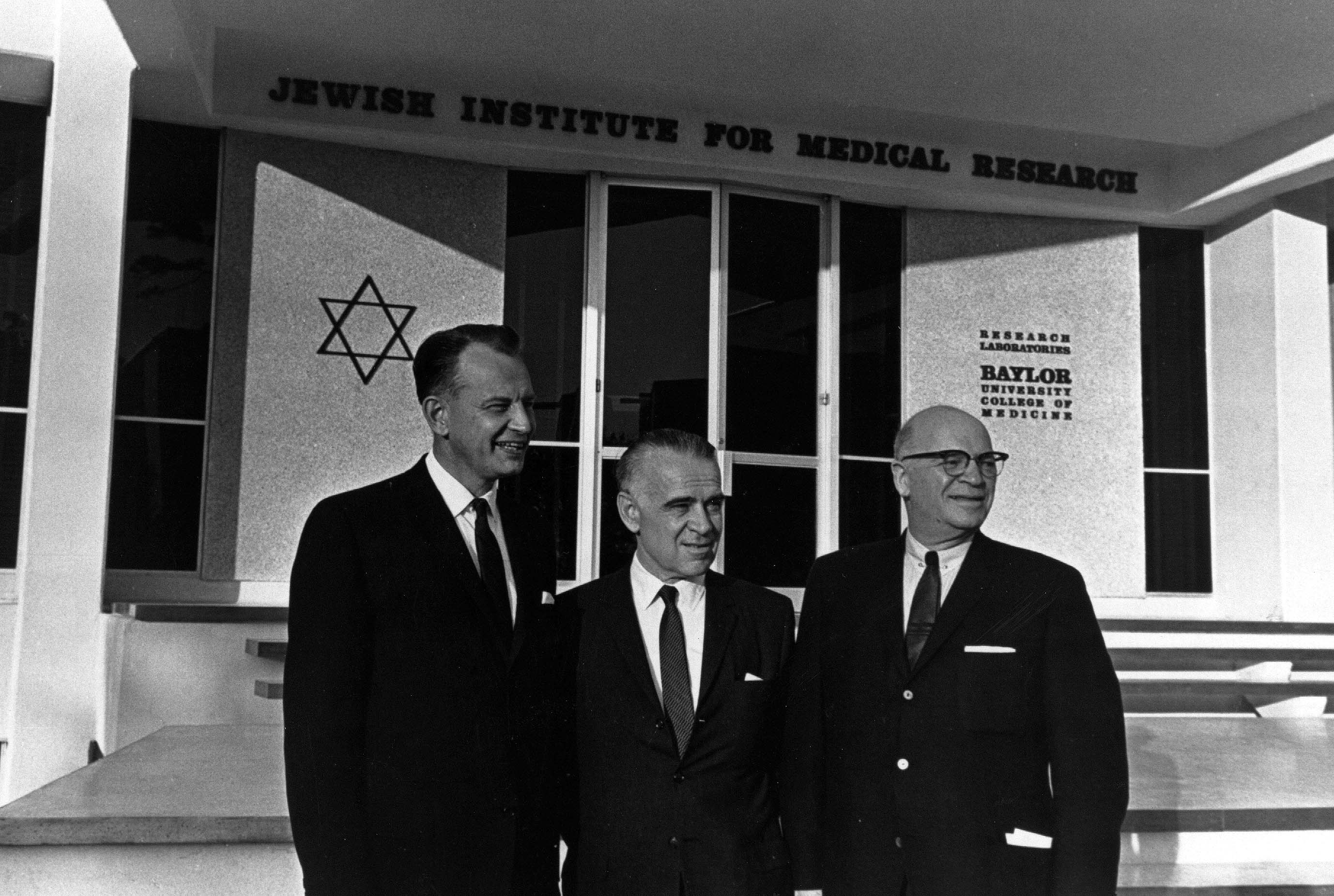 JIMR open house, October 1963. From left to right, Dean Stanley Olson, Bernard Farfel, Irvin Shlenker. Photo courtesy of Baylor College of Medicine Archives.